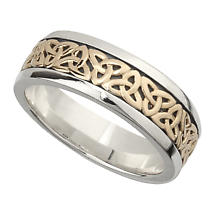 Irish Wedding Band - 10k Gold and Sterling Silver Mens Celtic Trinity Knot Ring