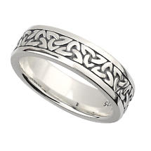 Irish Wedding Band -  Sterling Silver Ladies Celtic Trinity Knot Ring