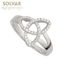 Irish Ring - Ladies Cubic Zirconia Sterling Silver Trinity Knot Ring