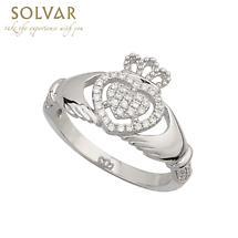 Irish Ring - Ladies Cubic Zirconia  Sterling Silver Claddagh Ring