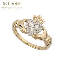 Claddagh Ring - 14k Yellow Gold 3 Diamond Heart Ladies Irish Claddagh