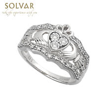 Claddagh Ring - 14k White Gold Diamond Ladies Irish Claddagh Band