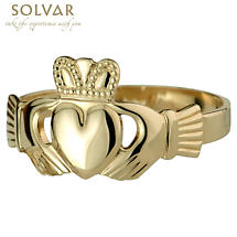 Claddagh Ring - Men's 14k Gold Puffed Heart Claddagh