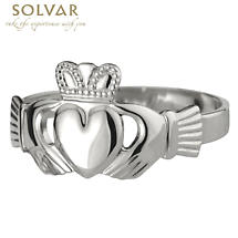 Claddagh Ring - Men's Sterling Silver Puffed Heart Claddagh
