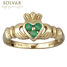 Claddagh Ring - Ladies 14k Yellow Gold with 3 Emerald Heart Claddagh