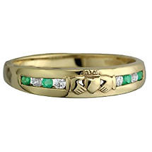 Claddagh Ring - Ladies 10k Gold with Emerald and CZ Claddagh Eternity Ring