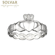 Claddagh Ring - Ladies Sterling Silver Weave Claddagh Band