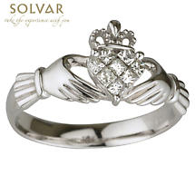 Claddagh Ring - 14k White Gold Diamond Claddagh