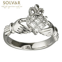 Claddagh Ring - Ladies 14k White Gold and 8 Diamonds Claddagh