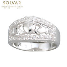 Claddagh Ring - Ladies Sterling Silver Claddagh CZ