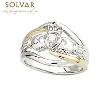 Irish Ring - Ladies 14k Gold Two Tone Diamond Claddagh Ring