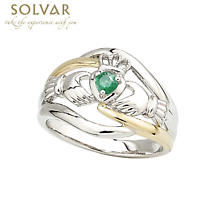 Irish Ring - Ladies 14k Gold Two Tone Emerald Claddagh Ring