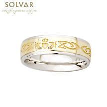 Claddagh Ring - 10k Gold and Sterling Silver Celtic Knot Ladies Claddagh Ring