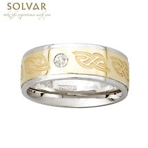 Celtic Ring - 10k Gold and Sterling Silver Celtic Knot Mens Diamond Irish Ring