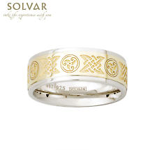 Celtic Ring - 10k Gold and Sterling Silver Celtic Knot and Celtic Spiral Mens Irish Ring