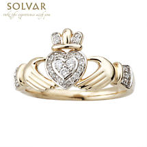 Irish Ring - Ladies 14k Gold Diamond Encrusted Claddagh Ring