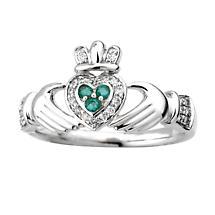 Irish Ring - 14k Gold with Diamond & Emerald Claddagh Ring
