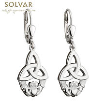 Celtic Earrings - Sterling Silver Claddagh Trinity Knot Drop Earrings