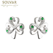 Sterling Silver Shamrock Green Stone Earrings