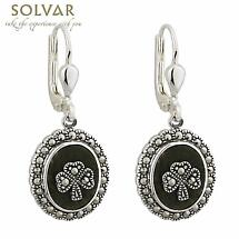 Sterling Silver Marcasite Shamrock Marble Earrings