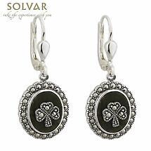 Sterling Silver Marcasite Shamrock Marble Earrings