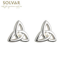 First Communion Silver Plated Trinity Knot Earrings with Pearl Center