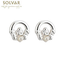 First Communion Silver Plated Claddagh Earrings with Pearl Center