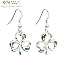 Sterling Silver and Green Crystals Shamrock Earrings