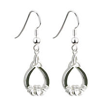 Sterling Silver Connemara Marble Claddagh Earrings