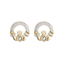 Claddagh Earrings - 14k Gold with Diamonds Claddagh Stud Earrings