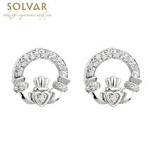 Irish Earrings - 14k White Gold Diamond Claddagh Earrings