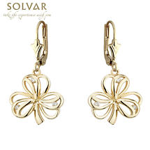 Irish Earrings - 14k Yellow Gold Shamrock Earrings with Diamonds