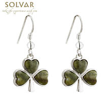 Shamrock Earrings - Rhodium Plated Connemara Marble Shamrock Drop Earrings