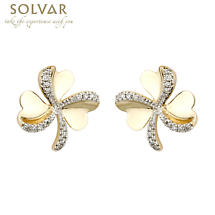 Shamrock Earrings - 10k Gold CZ Shamrock Stud Earrings