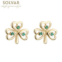 Shamrock Earrings - 10k Gold Emerald Shamrock Stud Earrings