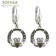Claddagh Earrings - Sterling Silver Marcasite & Connemara Marble Claddagh Drop Earrings