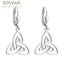 Celtic Earrings - Sterling Silver Open Trinity Drop Earrings