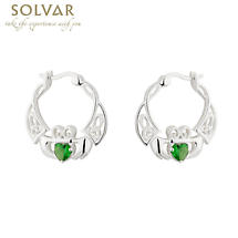 Claddagh Earrings - Sterling Silver Crystal Claddagh Creole Earrings