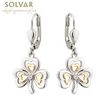 Shamrock Earrings - Silver, 10k Gold & Diamond Shamrock Earrings
