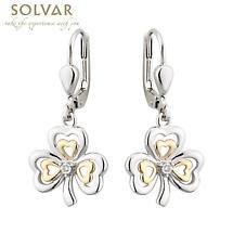 Shamrock Earrings - Silver, 10k Gold & Diamond Shamrock Earrings