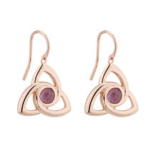 Irish Earrings - Rose Gold on Sterling Silver Trinity Knot Earrings with Amethyst