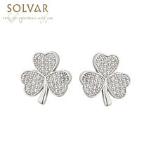 Irish Earrings - Rhodium Plated Crystal Stud Irish Shamrock Earrings