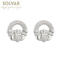 Irish Earrings - Rhodium Plated Crystal Stud Irish Claddagh Earrings