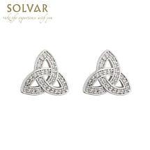 Irish Earrings - Rhodium Plated Crystal Stud Irish Trinity Knot Earrings