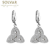 Irish Earrings - Rhodium Plated Crystal Trinity Knot Earrings