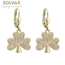 Irish Earrings - Gold Plated Crystal Shamrock Earrings