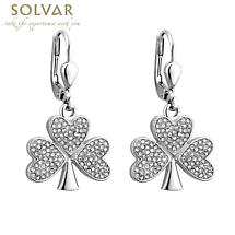 Irish Earrings - Rhodium Plated Crystal Shamrock Earrings