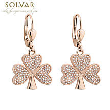 Irish Earrings - Rose Gold Plated Crystal Shamrock Earrings