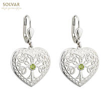 Irish Earrings - Sterling Silver Crystal Heart Tree of Life Earrings