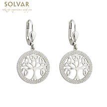 Celtic Earrings - Tree of Life Sterling Silver Irish Drop Earrings